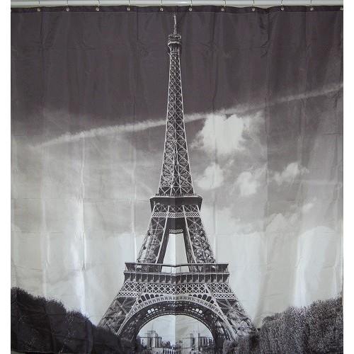 Duschdraperi med motiv av Eiffeltornet
